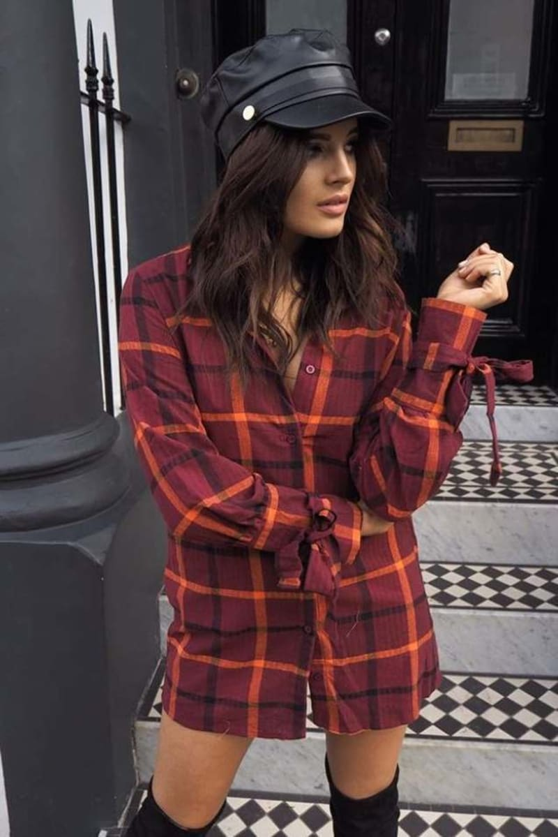 BINKY BURGUNDY CHECK TIE CUFF SHIRT DRESS