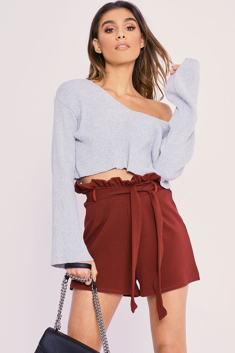 CHARLOTTE CROSBY WINE HIGH WAISTED PAPERBAG SHORTS
