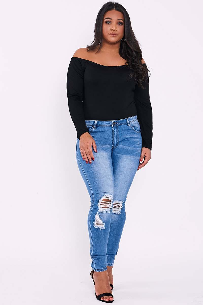 CURVE LAIKYNN BLUE MID WASH RIPPED SKINNY JEANS