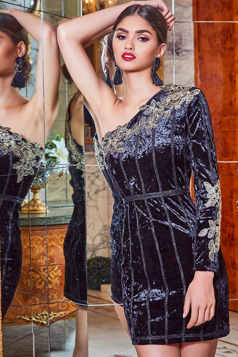 PREMIUM BLACK ONE SLEEVE APPLIQUE VELVET BODYCON DRESS