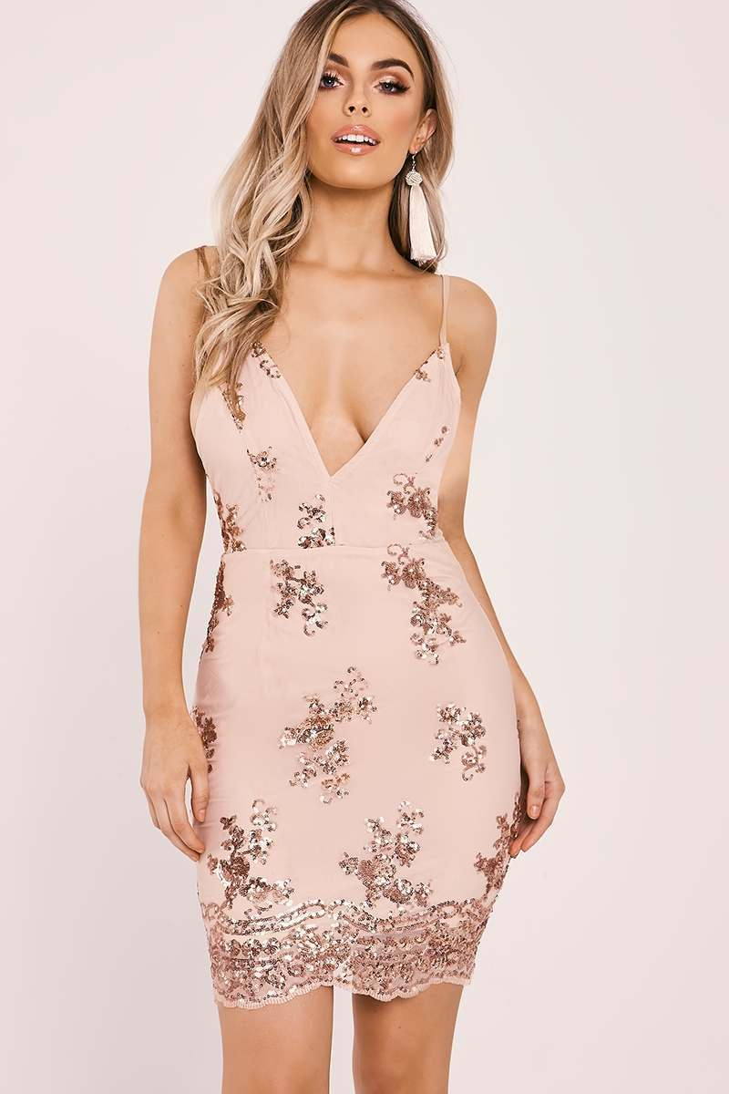 DALIS ROSE GOLD SEQUIN FLORAL BODYCON DRESS