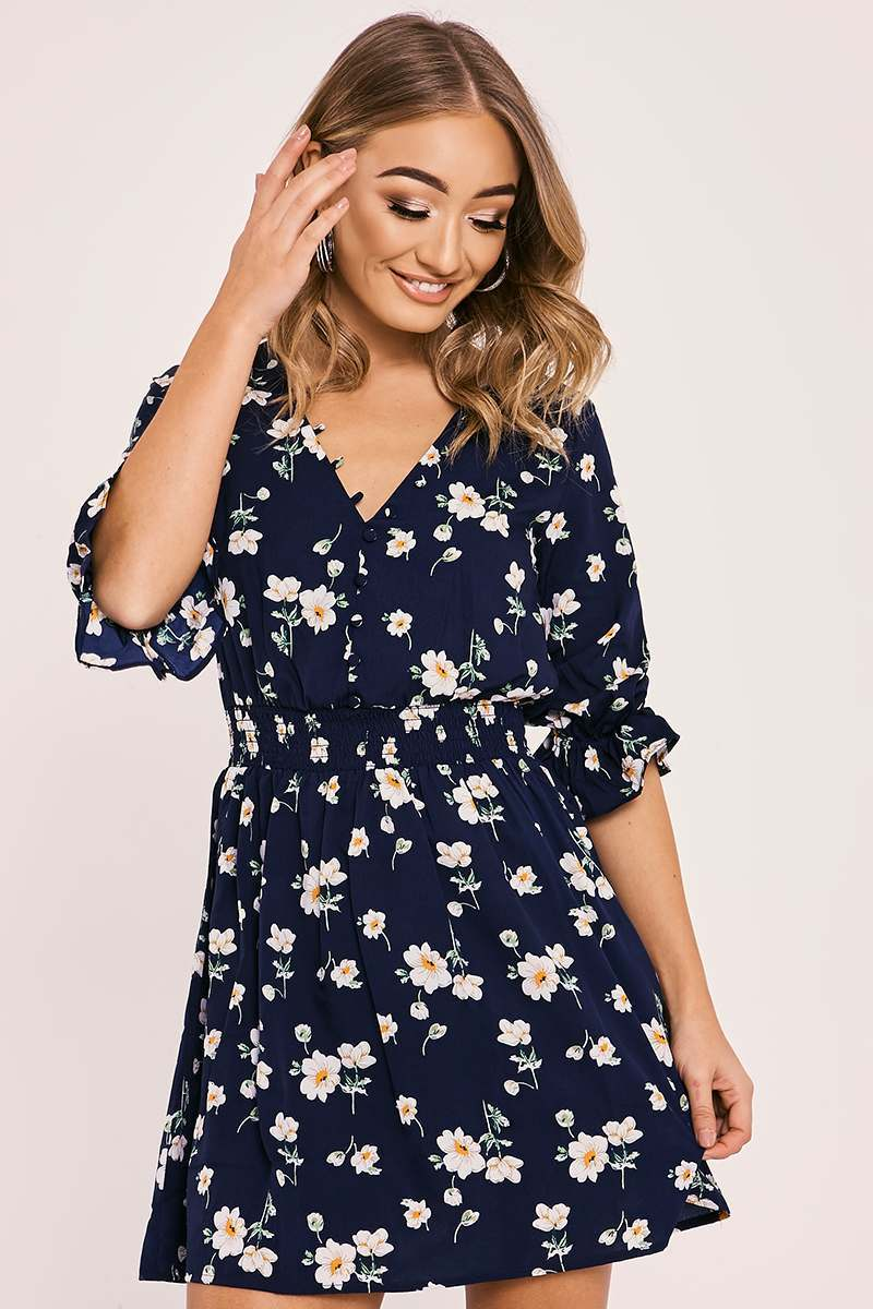 AILEEN NAVY FLORAL FRILL SLEEVE PLUNGE DRESS