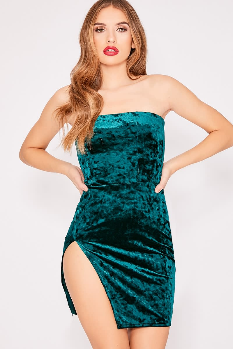 DALIY GREEN CRUSHED VELVET SPLIT LEG BANDEAU DRESS