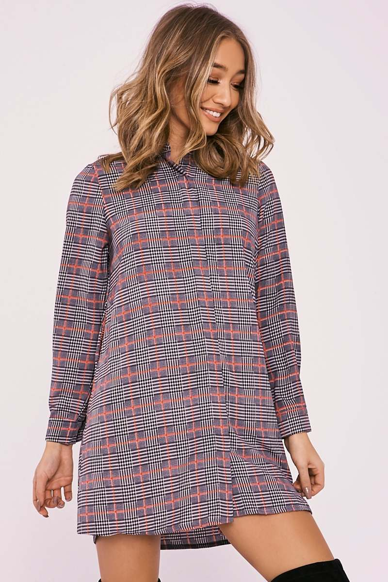 DELSIA RED CHECKED SWING SHIRT DRESS