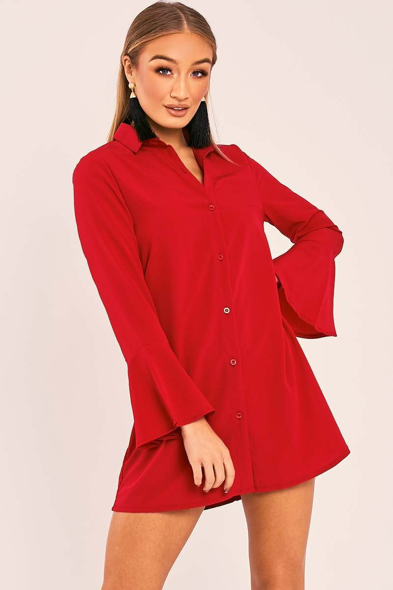 CHARLIZE RED FLARED SLEEVE SILKY SHIRT DRESS