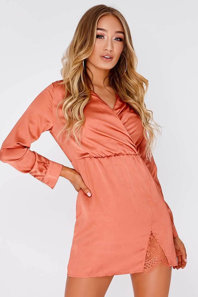ANNIE ORANGE SATIN WRAP DRESS