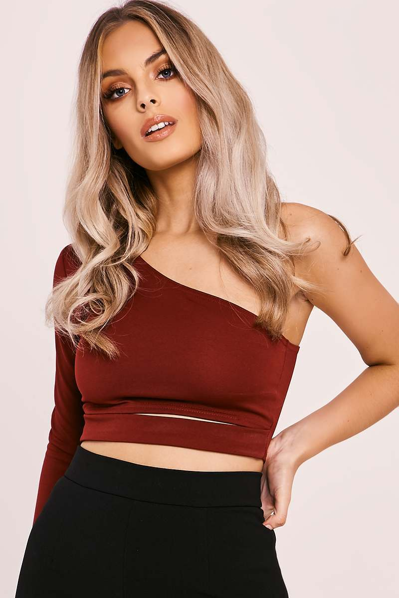 IMORA BURGUNDY ONE SHOULDER CUT OUT CROP TOP