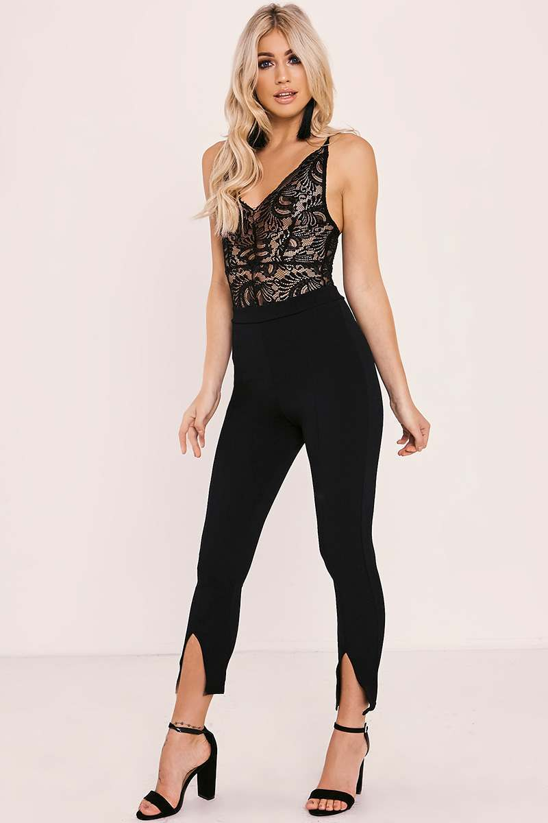 ISRAH BLACK SPLIT FRONT CREPE HIGH WAISTED TROUSERS