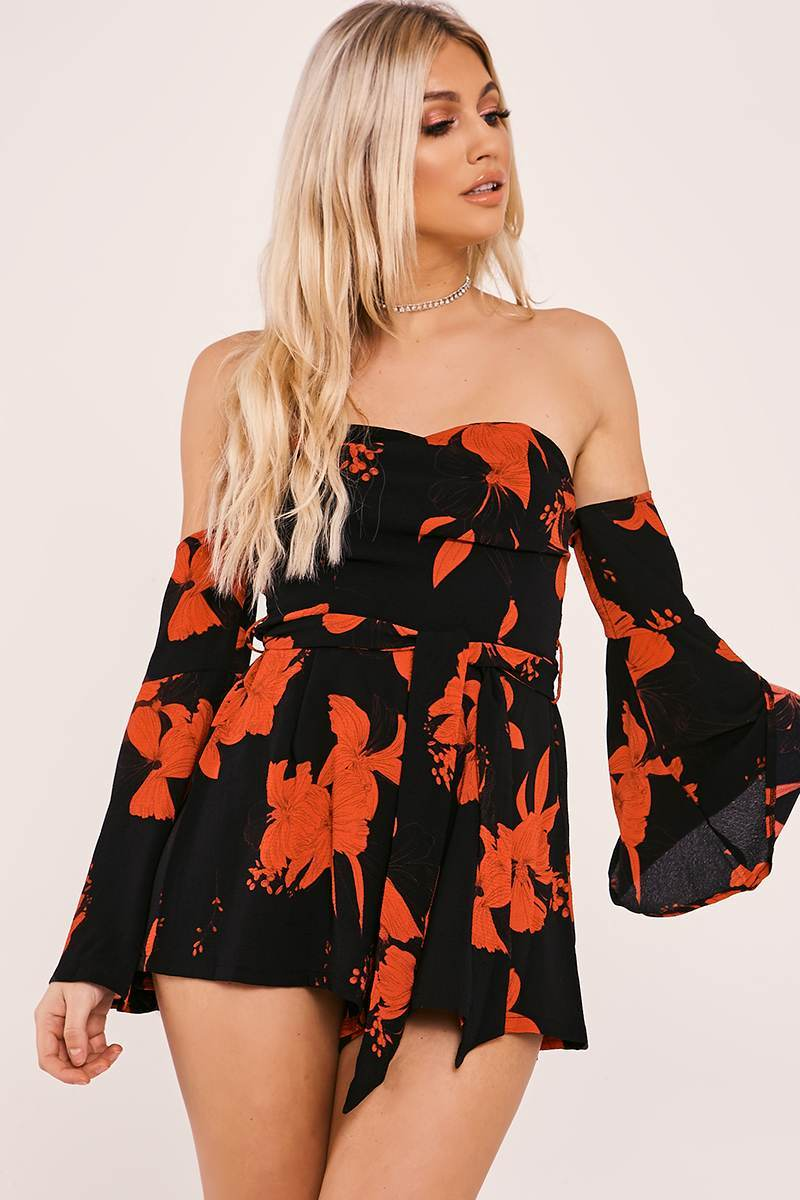 QUINNE BLACK FLORAL BARDOT FLARED SLEEVE PLAYSUIT