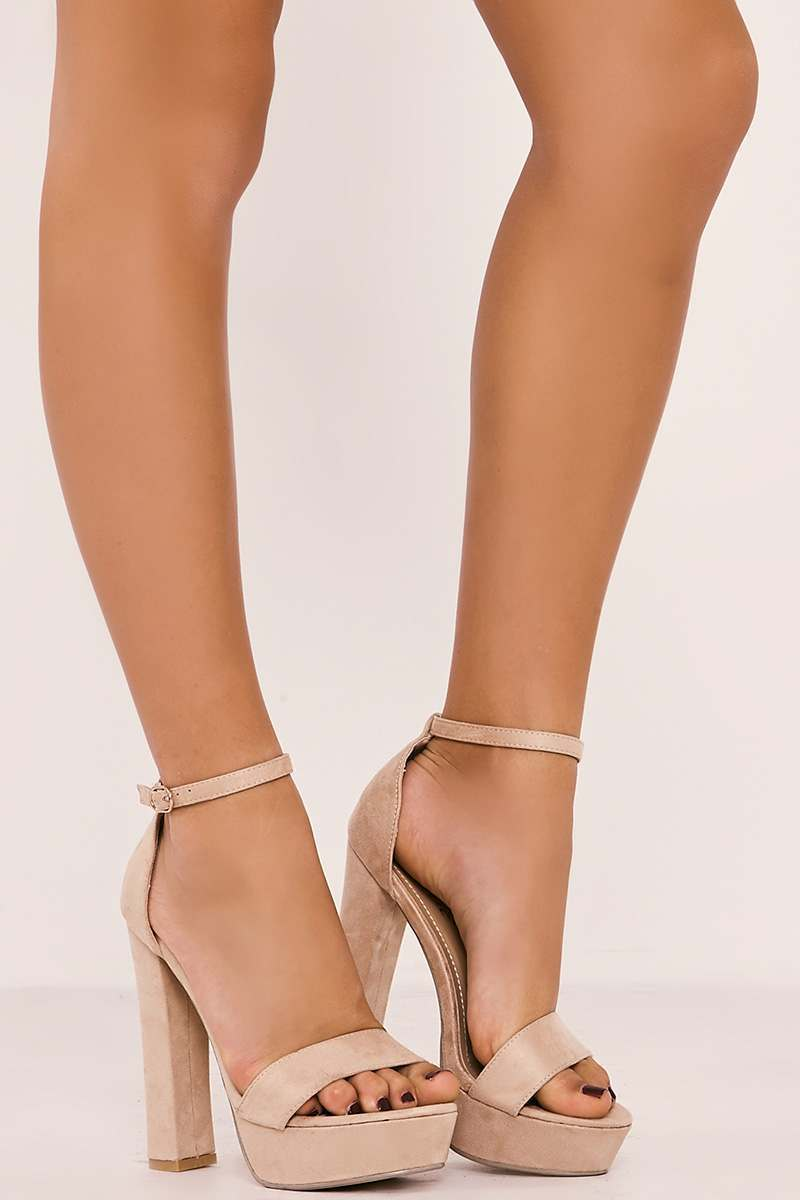 SOFIYA NUDE FAUX SUEDE PLATFORM BARELY THERE HEELS