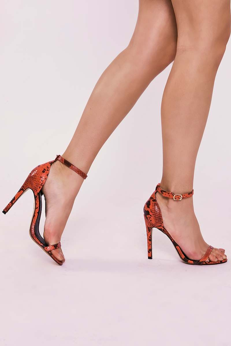 URSA RED SNAKE PRINT BARELY THERE HEELS