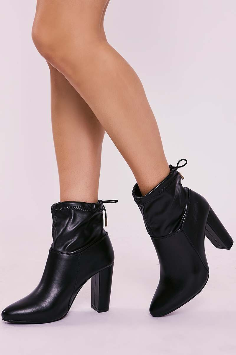 WONDER BLACK FAUX LEATHER HEELED ANKLE BOOTS