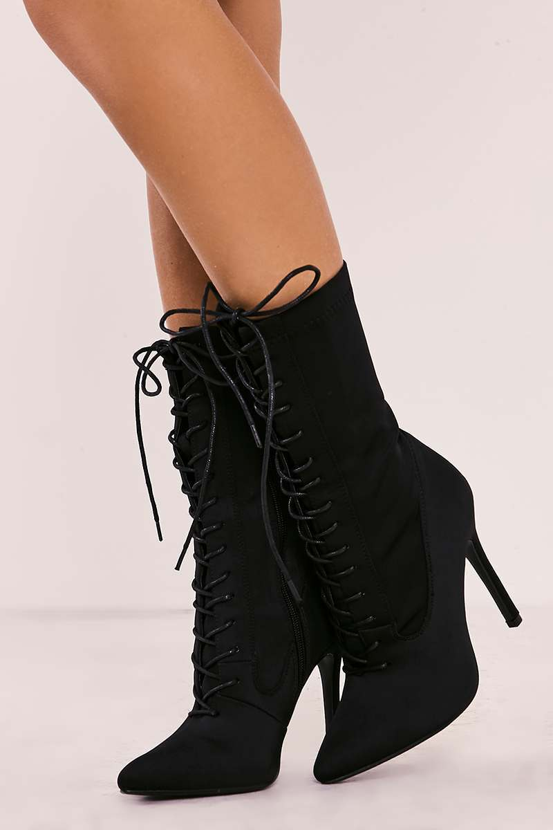 1202cfaf553b11 Stassi Black Lace Up Heeled Sock Boots | In The Style