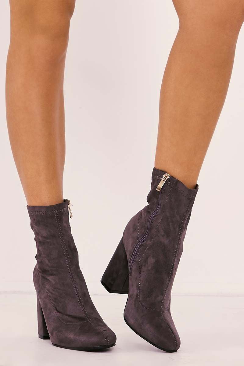 ROSALIN GREY FAUX SUEDE SOCK BOOTS