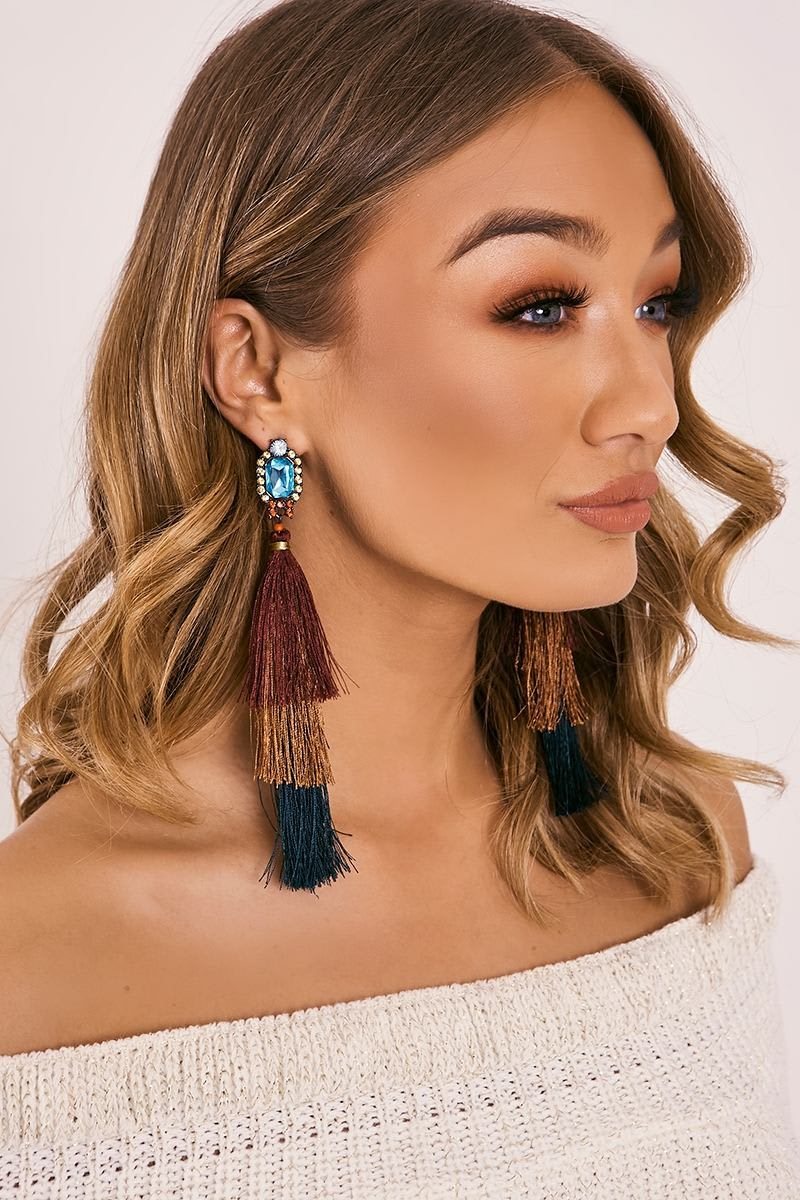 MULTICOLOURED LAYERED TASSEL GEM EARRINGS