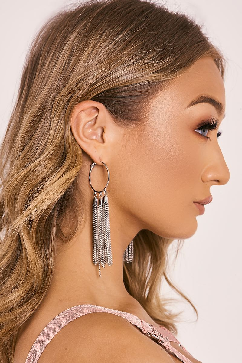 SILVER TASSEL DROP HOOP EARRINGS