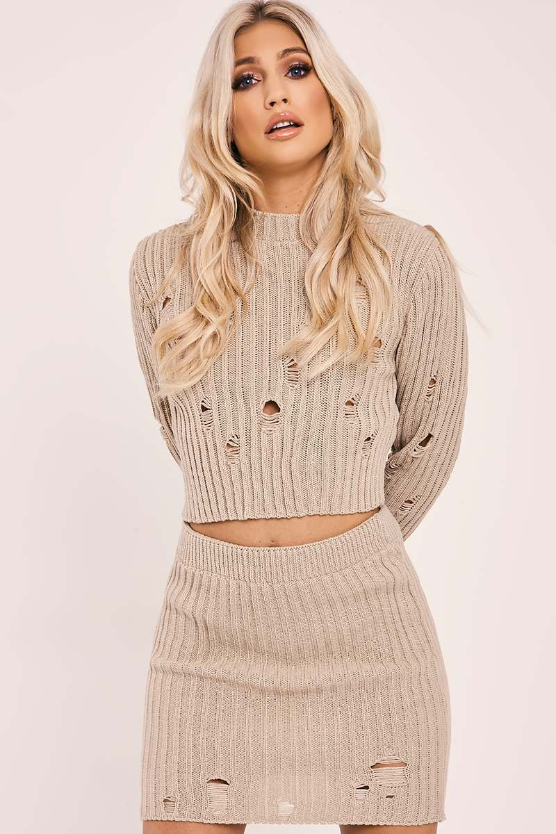 IVEY STONE DISTRESSED KNIT TOP AND SKIRT