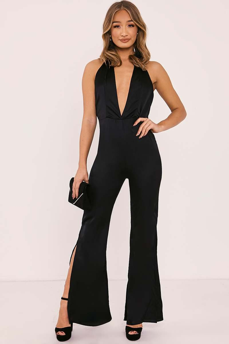 SUSIE BLACK SATIN PLUNGE SPLIT LEG JUMPSUIT