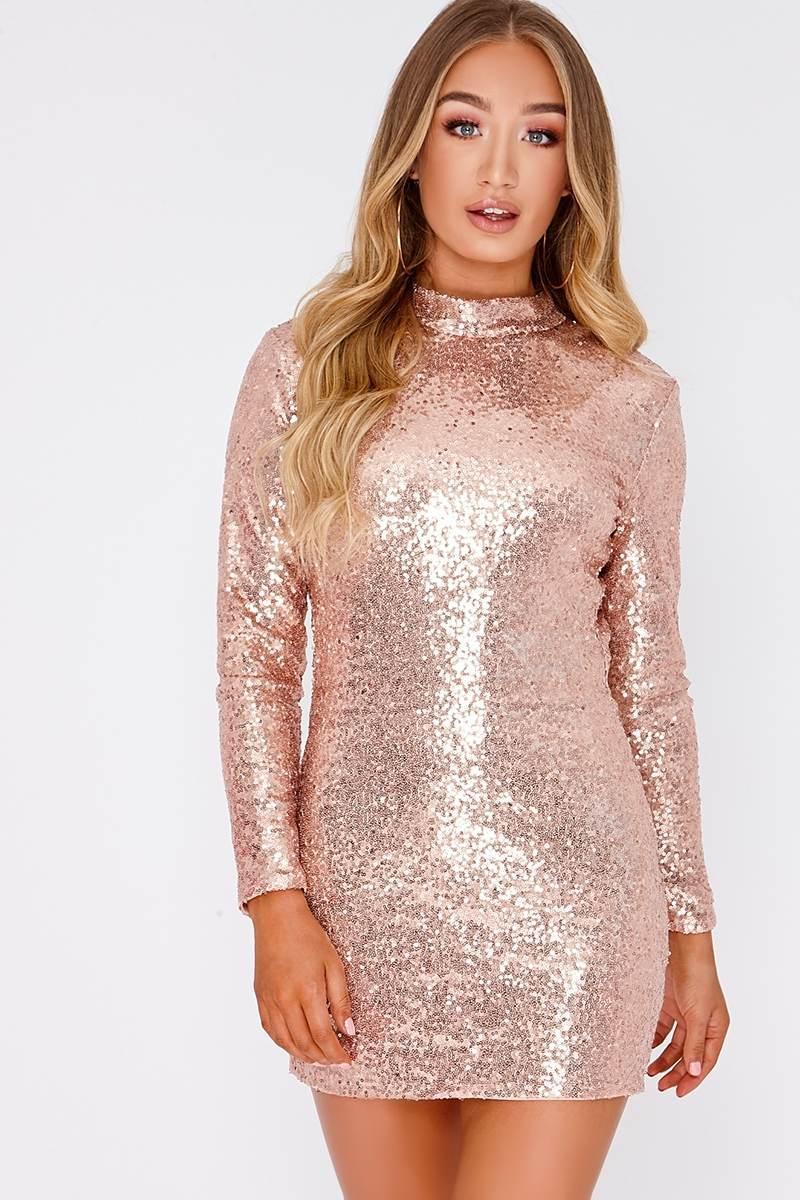 IREENE ROSE GOLD MICRO SEQUIN BACKLESS MINI DRESS