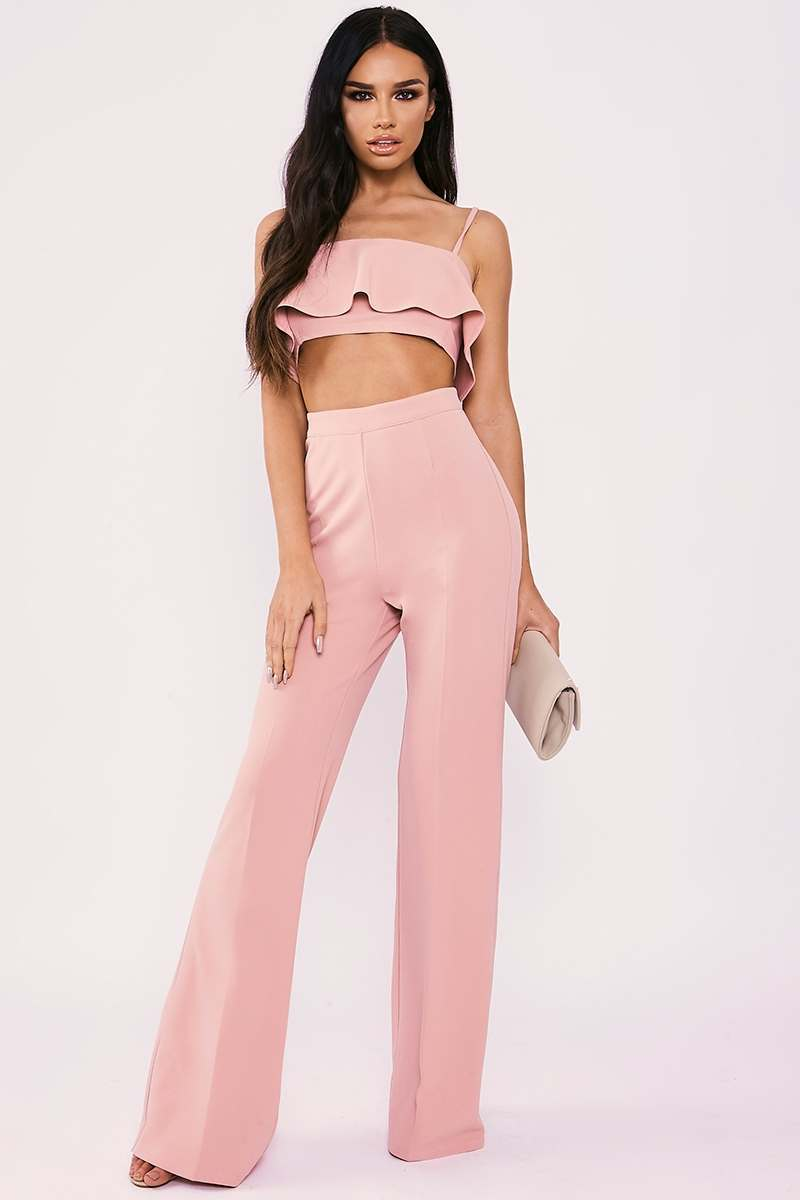 SARAH ASHCROFT PINK HIGH WAISTED WIDE LEG TROUSERS