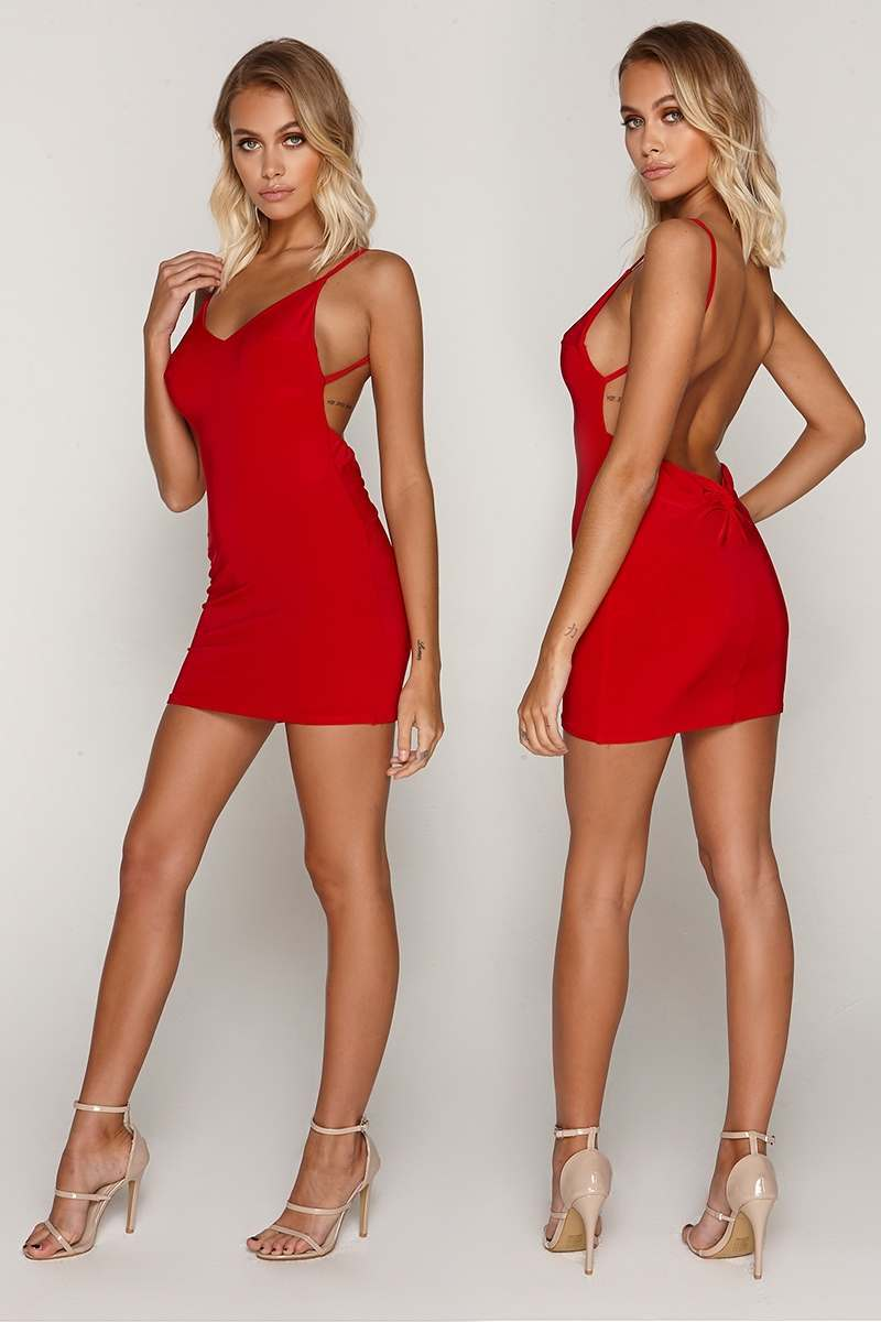 TAMMY HEMBROW RED RUCHED KNOT DETAIL SLINKY MINI DRESS