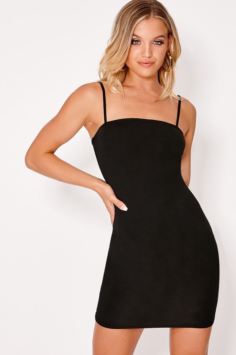BASIC BLACK JERSEY SQUARE NECK BODYCON DRESS