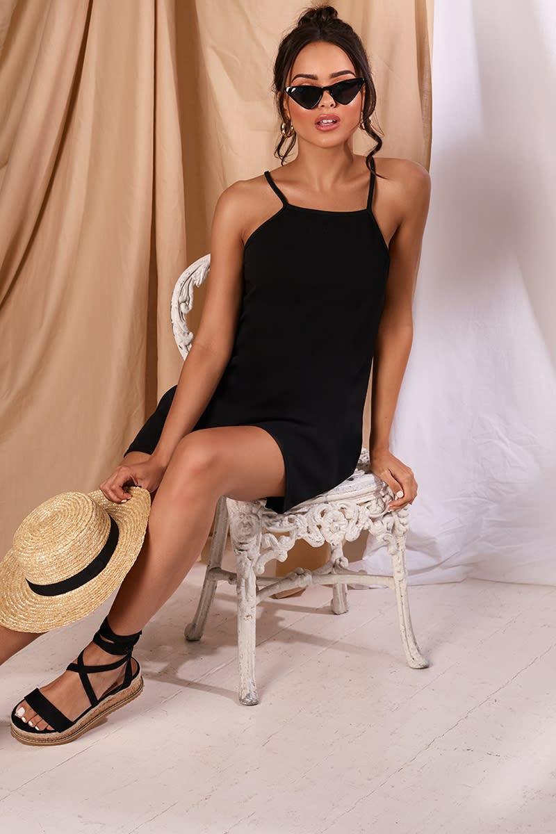 KEYVA BLACK CREPE SWING DRESS