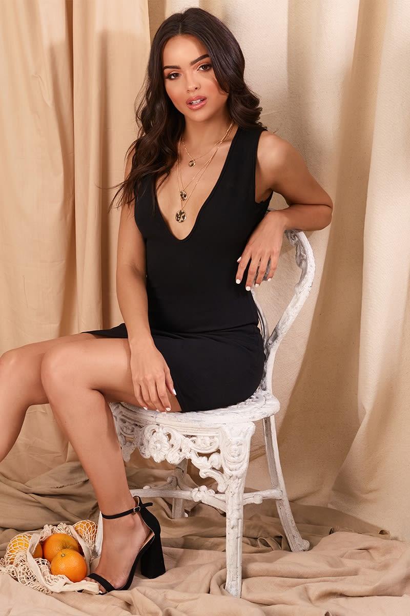 MARILITA BLACK PLUNGE MINI DRESS