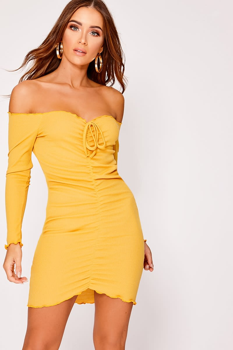 ELISSAH MUSTARD RIBBED BARDOT RUCHED MINI DRESS