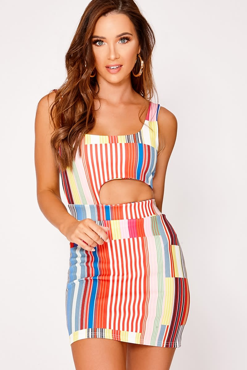 CALLIN PINK STRIPE CUT OUT MINI DRESS