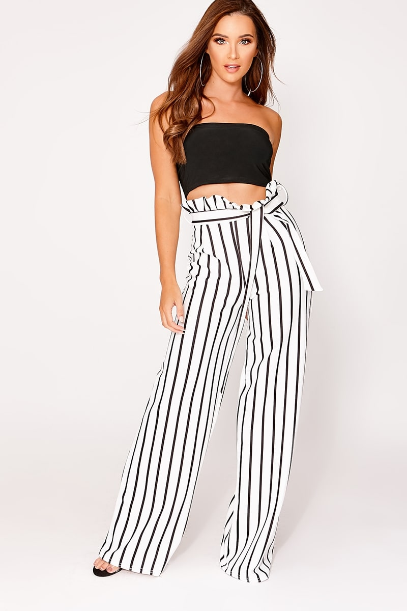 IYLA WHITE STRIPED WIDE LEG PAPERBAG TROUSERS