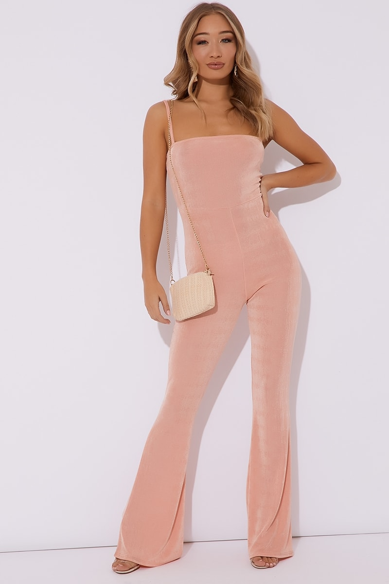 BRINIE PEACH SLINKY SQUARE NECK FLARED LEG JUMPSUIT