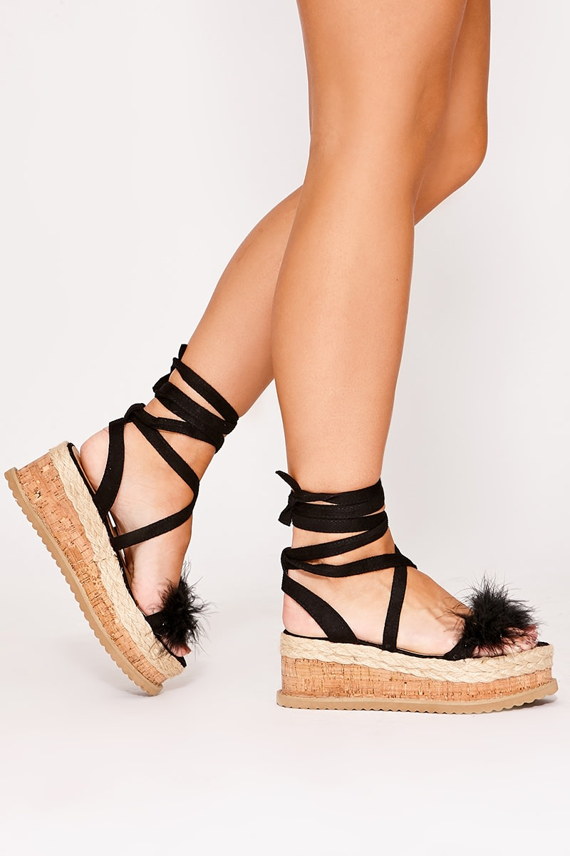 SELBY BLACK FLUFFY DETAIL ESPADRILLES