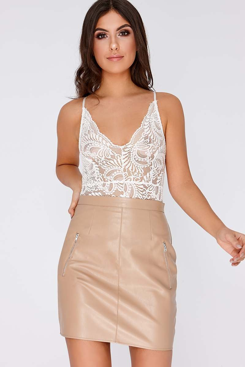IMMIE NUDE FAUX LEATHER MINI SKIRT