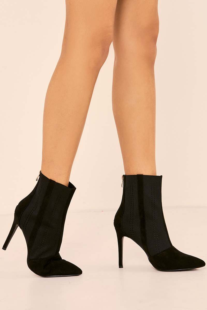 KAILY BLACK FAUX SUEDE STRETCH INSERT HEELED ANKLE BOOTS