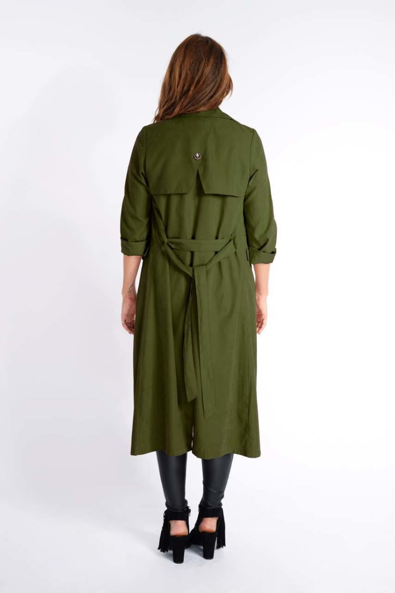Binky Khaki Waterfall Trench Coat