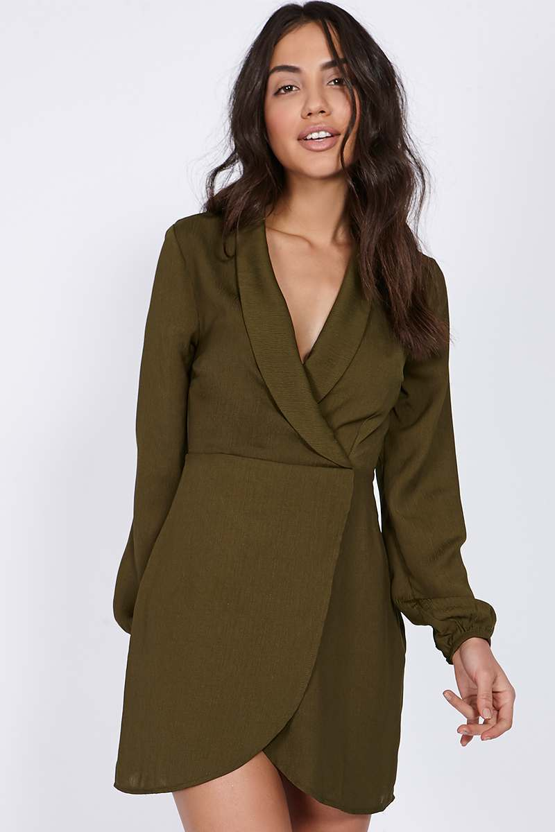 BINKY KHAKI WRAP FRONT COLLARED MINI DRESS