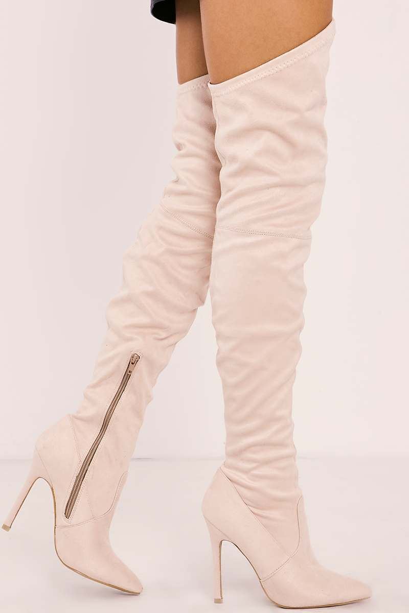 YANA CREAM FAUX SUEDE OVER THE KNEE HEELED BOOTS