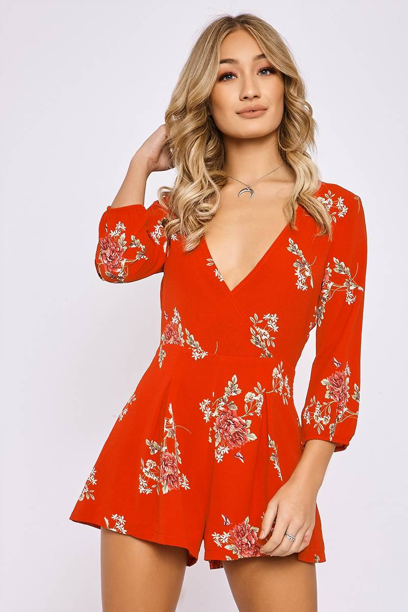 NIKITTA RED FLORAL LONG SLEEVE WRAP PLAYSUIT