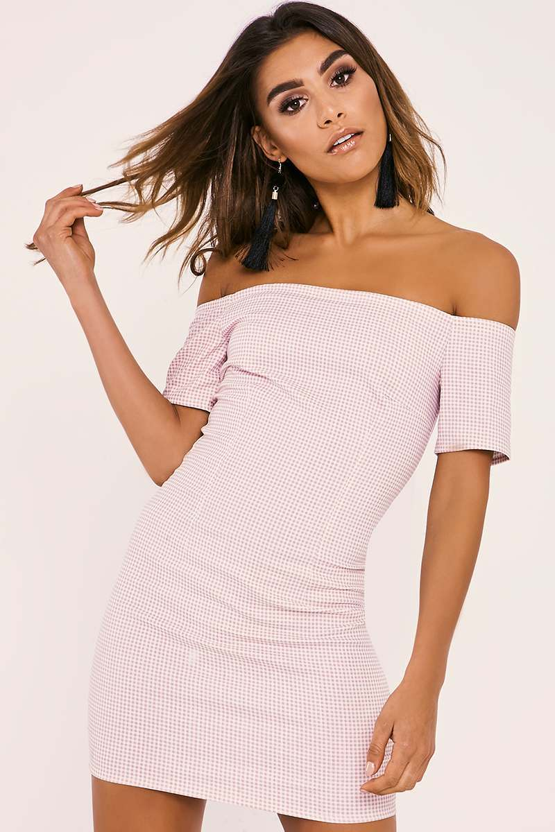 EMMYLOU PINK GINGHAM BARDOT BODYCON DRESS