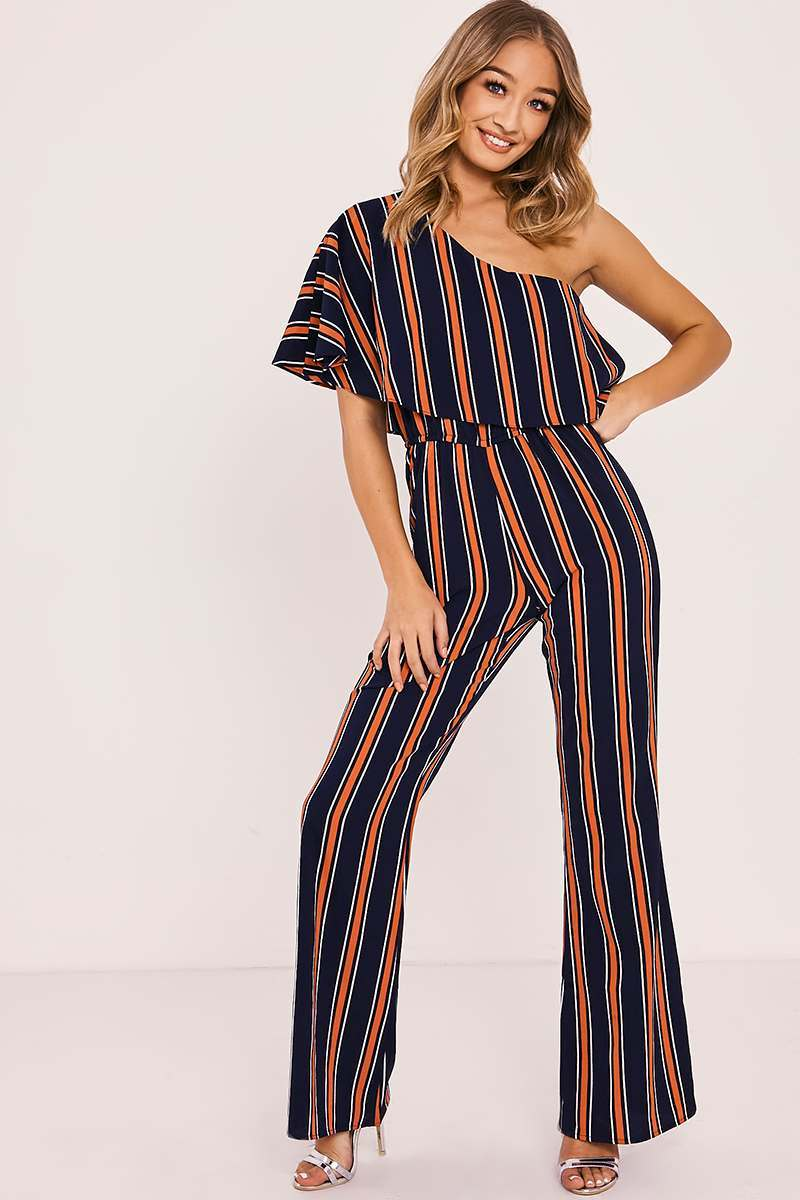 RONICA NAVY STRIPE FRILL ONE SHOULDER JUMPSUIT