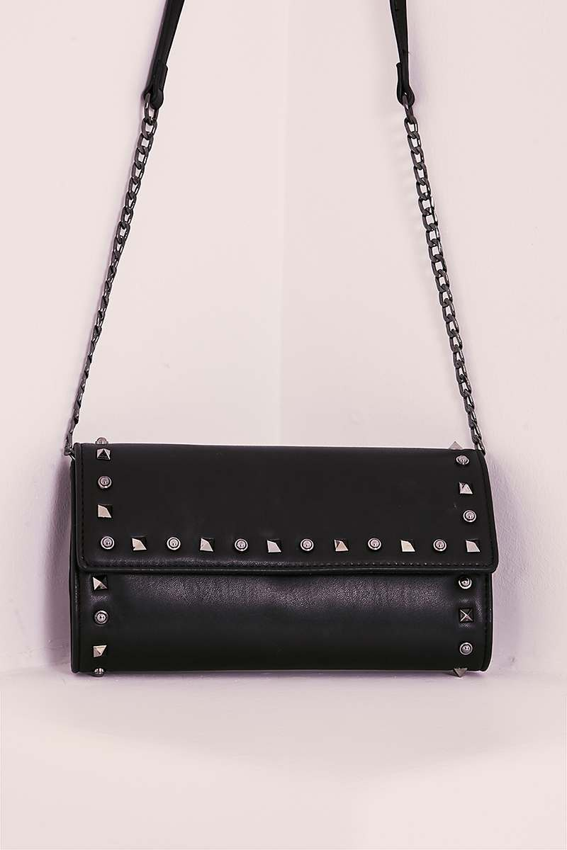 BLACK FAUX LEATHER STUDDED CLUTCH BAG