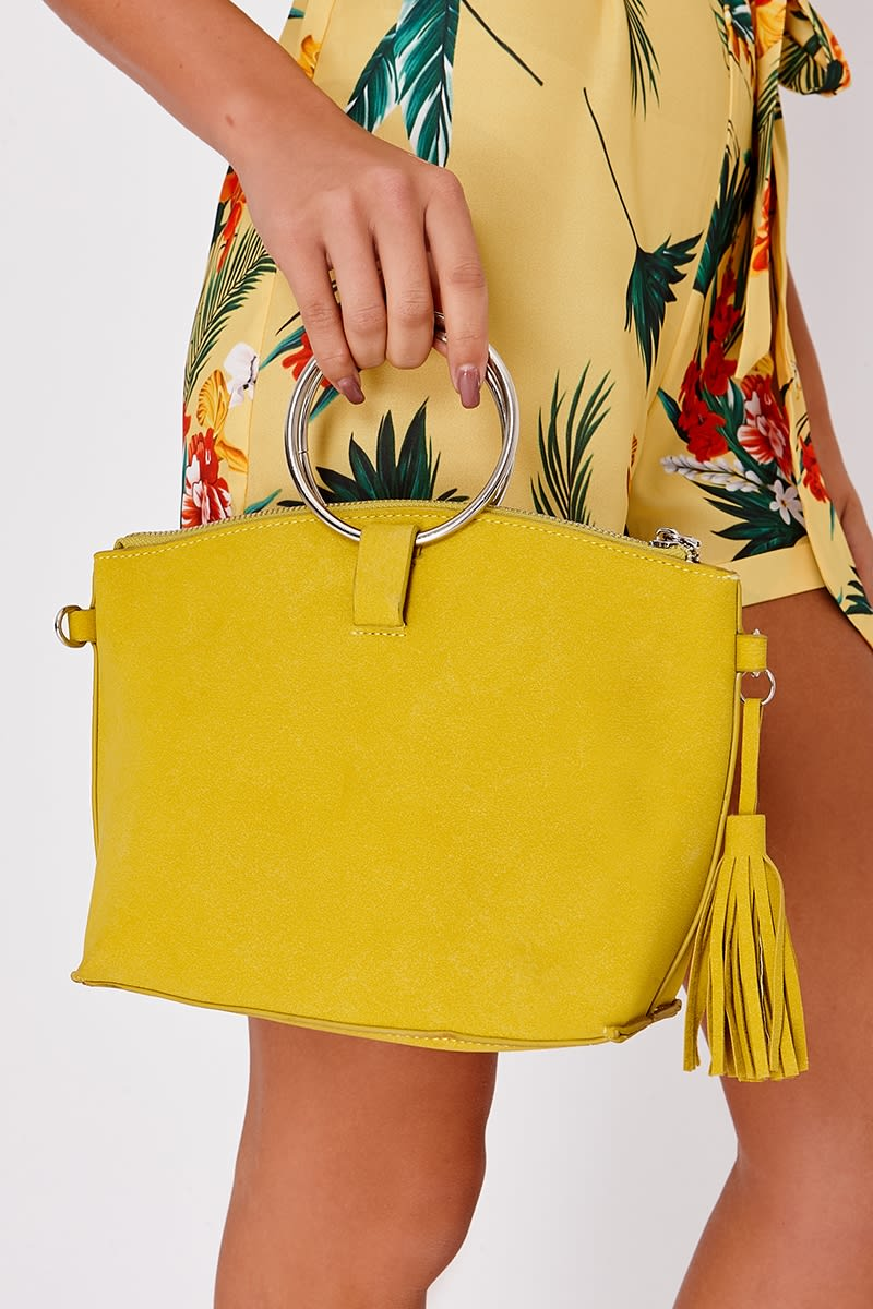 YELLOW FAUX SUEDE RING HANDLE BAG