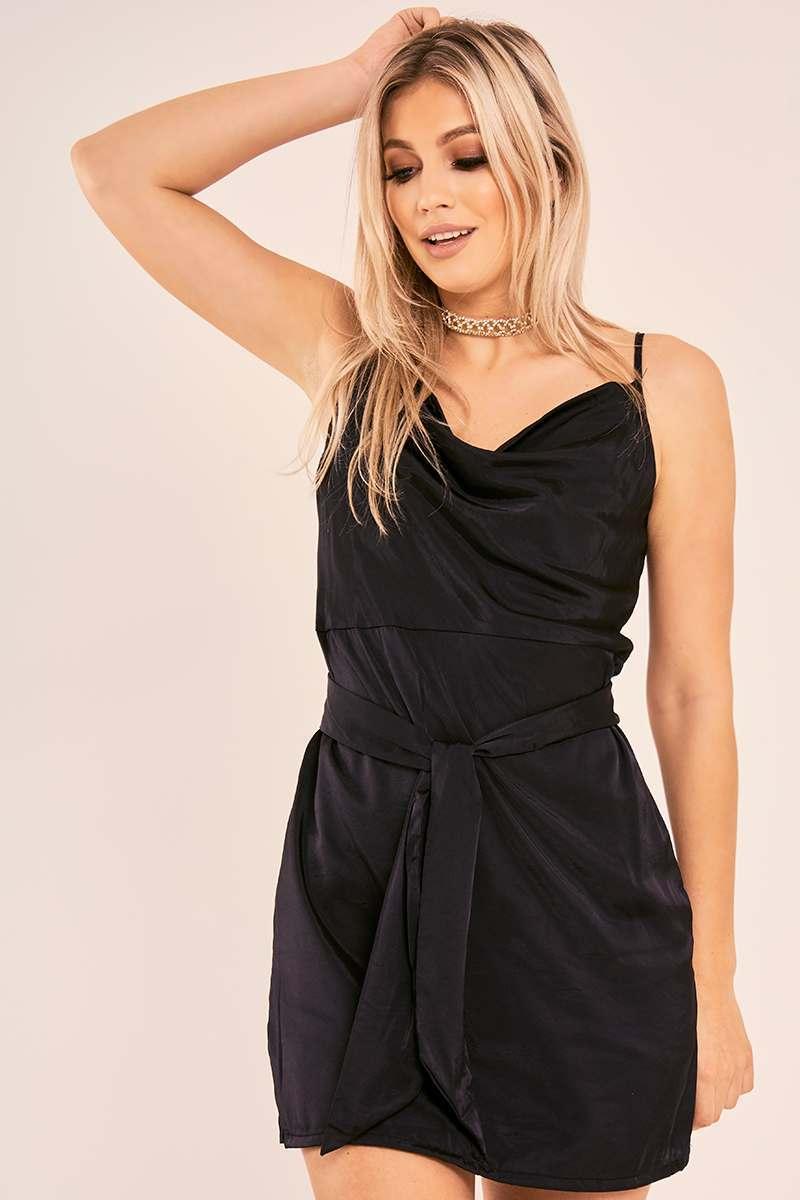 BRYANNE BLACK COWL NECK TIE WAIST SILKY DRESS