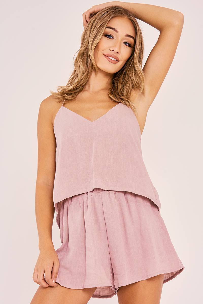 CARRISA MAUVE TIE BACK TOP AND SHORTS CO ORD