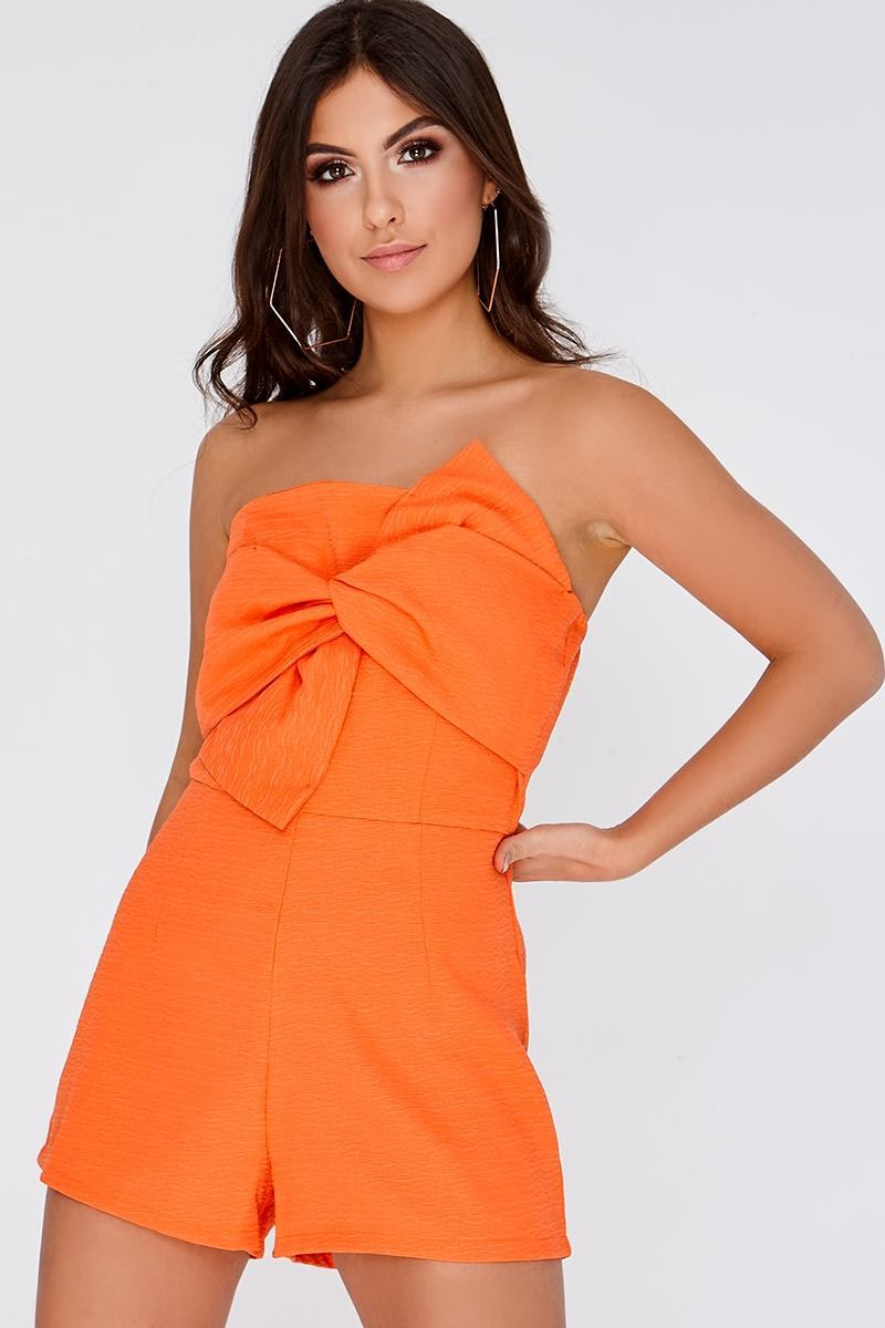 RAELYNN ORANGE BOW FRONT PLAYSUIT