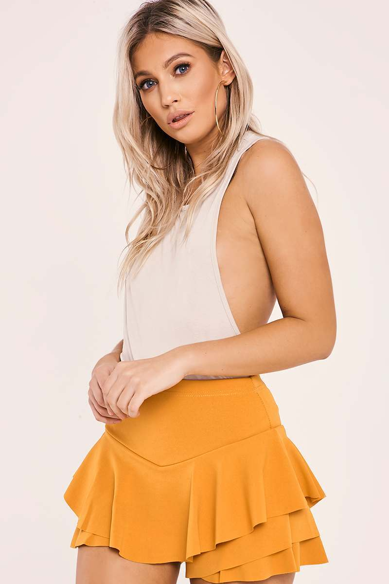 MINILA MUSTARD HIGH WAISTED FRILL OVERLAY SHORTS