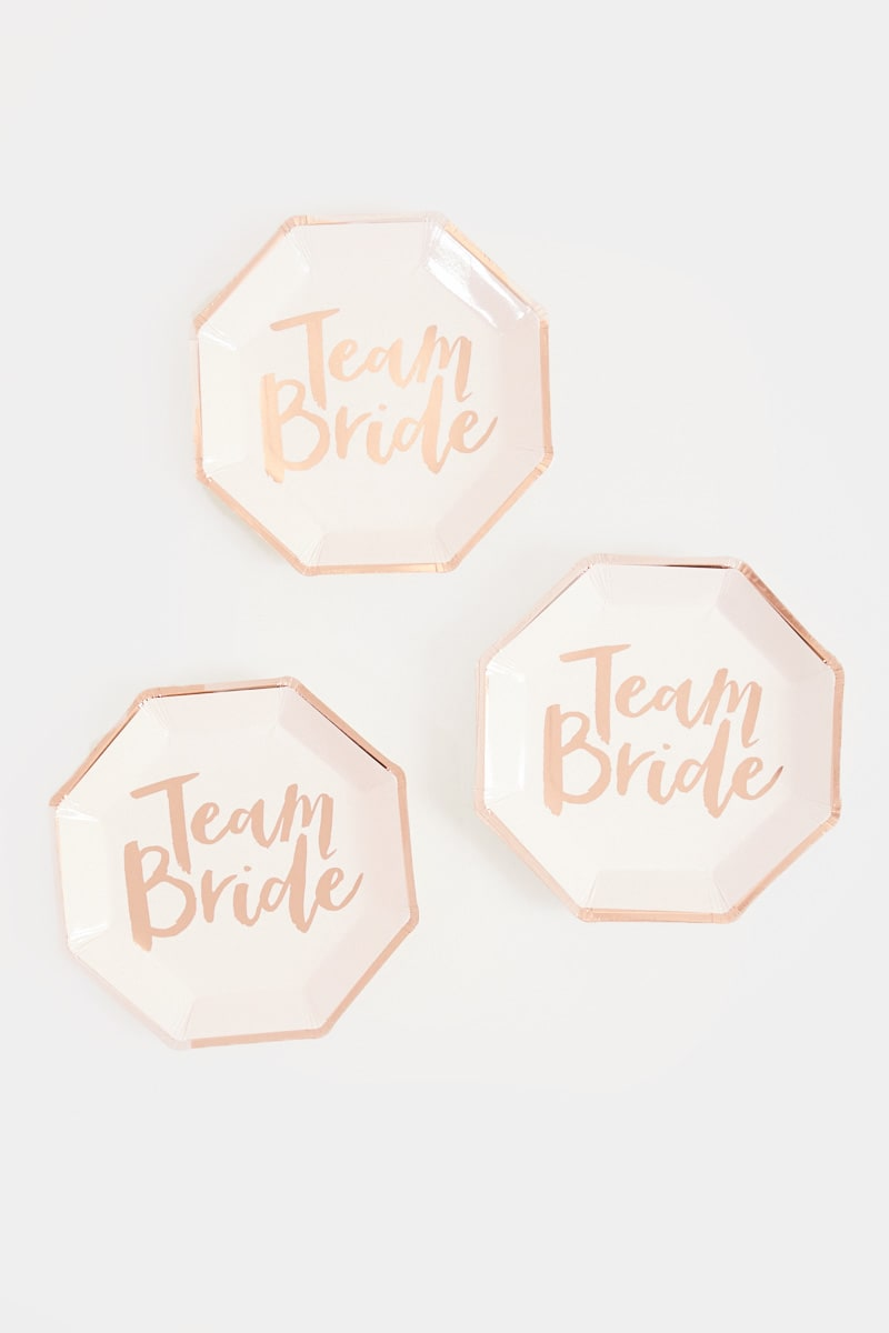 GINGER RAY TEAM BRIDE PAPER PLATES 8 PACK
