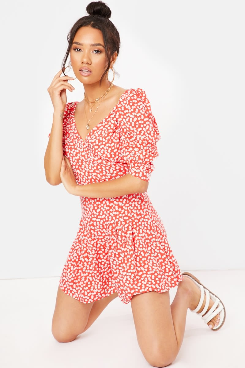 LIVIE RED FLORAL WRAP PLAYSUIT