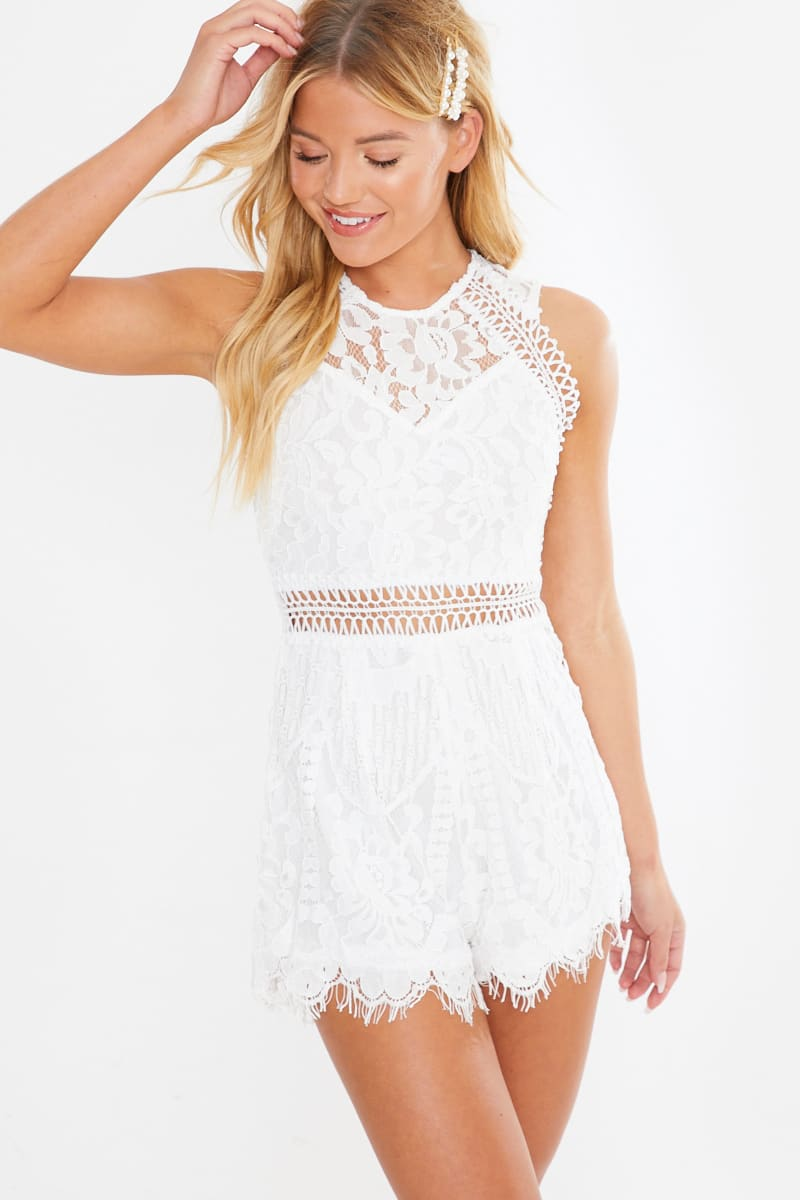 ERMA WHITE LACE CUT OUT PLAYSUIT